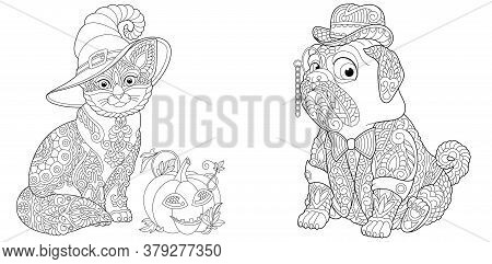 Coloring Pages. Cute Cat With Halloween Pumpkin. Elegant Pug Dog In Tuxedo And Bowler Hat. Line Art