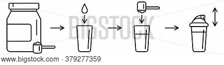 Sport Nutrition Supplement Concept. Instruction How To Make Whey Protein Isolate Shake. Linear Icon