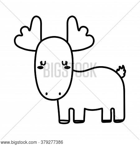 Cute Reindeer Cartoon Line Style Icon Design, Animal Zoo Life Nature And Character Theme Vector Illu