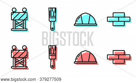 Set Line Worker Safety Helmet, Road Barrier, Paint Brush And Bricks Icon. Vector