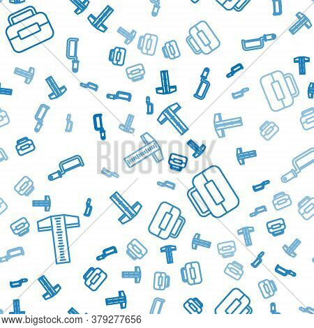 Set Line T-square Line, Toolbox And Hacksaw On Seamless Pattern. Vector