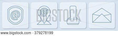 Set Line Shield With Mail And E-mail, Stamp, Location And Mail And E-mail And Envelope. White Square