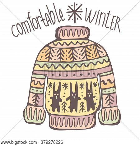 Isolated Vector Illustration Of Knitted Sweater With Ornaments And Bunnies