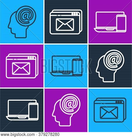 Set Line Mail And E-mail, Monitor And Phone And Website And Envelope Icon. Vector