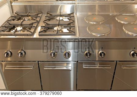 Commercial Stove Dual Power In Restaurant Kitchen