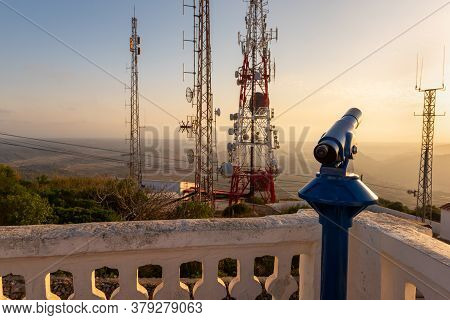 Telescope Viewpoint, And Telecommunication Masts On The Top Of El Toro Mountain On Menorca, Balearic