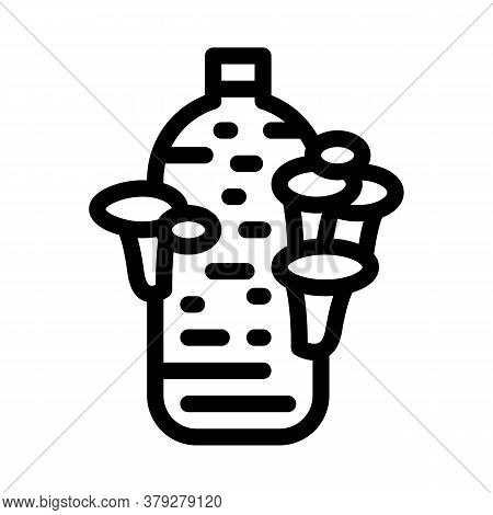 Growing Mushroom From Bag Icon Vector. Growing Mushroom From Bag Sign. Isolated Contour Symbol Illus