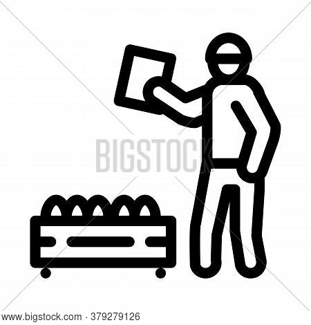 Mushroom Farm Worker Icon Vector. Mushroom Farm Worker Sign. Isolated Contour Symbol Illustration