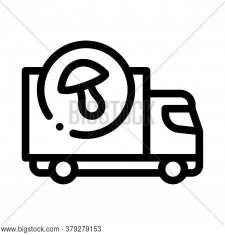 Mushroom Delivery Icon Vector. Mushroom Delivery Sign. Isolated Contour Symbol Illustration