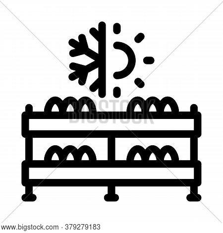 Mushroom Farm Temperature Icon Vector. Mushroom Farm Temperature Sign. Isolated Contour Symbol Illus