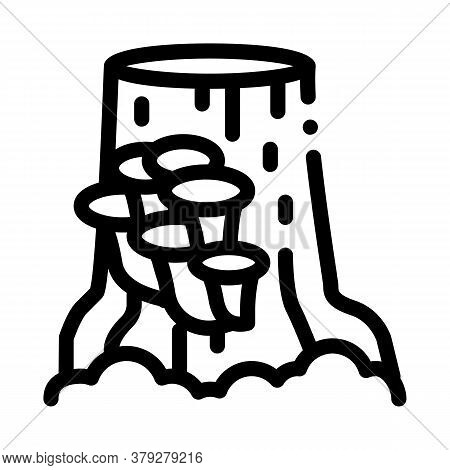 Mushroom Growing On Stump Icon Vector. Mushroom Growing On Stump Sign. Isolated Contour Symbol Illus