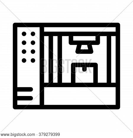 Manufacturing 3d Printer Icon Vector. Manufacturing 3d Printer Sign. Isolated Contour Symbol Illustr