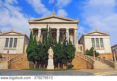 Exterior Front View Of The National Library Of Greece In Athens With It Two Curved Staircases.