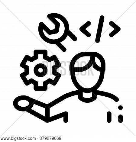 Front End Developer Icon Vector. Front End Developer Sign. Isolated Contour Symbol Illustration