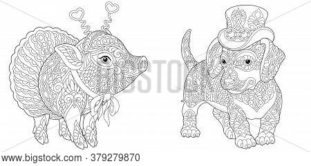 Coloring Pages. Hipster Animals. Dachshund Dog And Cute Pig In Ballet Skirt. Line Art Design For Adu