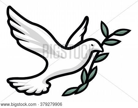 Beautiful Dove With Olive Branch, Religious Symbol Of Fait, Peace, Love, And Hope, Nice Clean Black