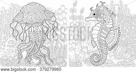 Coloring Pages. Underwater Landscape With Jellyfish And Seahorse. Line Art Design For Adult Colourin