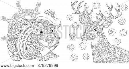 Coloring Pages. Cute Seaman Hamster And Christmas Reindeer. Line Art Design For Adult Colouring Book