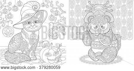 Coloring Pages. Cat Among Halloween Pumpkin Decor. Panda Geisha Playing Flute. Line Art Design For A