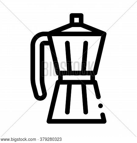 Pot For Boiling Coffee Icon Vector. Pot For Boiling Coffee Sign. Isolated Contour Symbol Illustratio