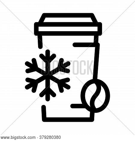 Cold Coffee Cup Icon Vector. Cold Coffee Cup Sign. Isolated Contour Symbol Illustration