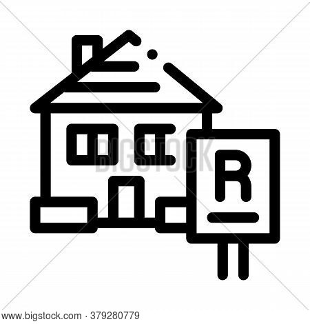 House Rent Icon Vector. House Rent Sign. Isolated Contour Symbol Illustration