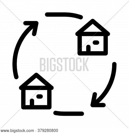 Houses Exchange Icon Vector. Houses Exchange Sign. Isolated Contour Symbol Illustration