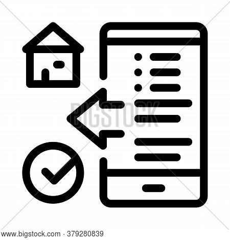 House Check Phone App Icon Vector. House Check Phone App Sign. Isolated Contour Symbol Illustration