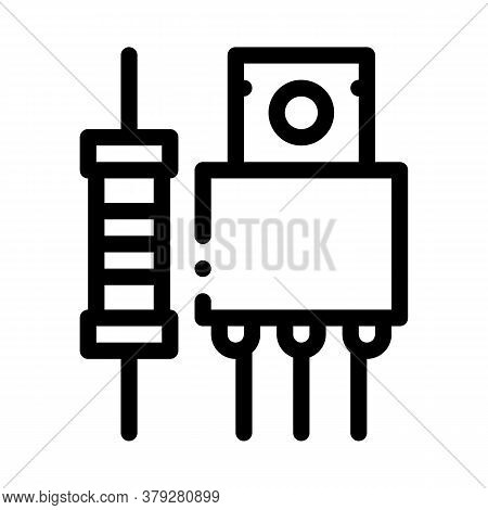 Radio Spare Parts Icon Vector. Radio Spare Parts Sign. Isolated Contour Symbol Illustration