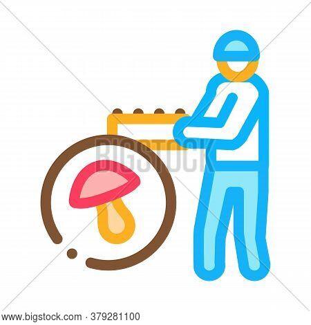 Mushroom Farmer Icon Vector. Mushroom Farmer Sign. Color Symbol Illustration