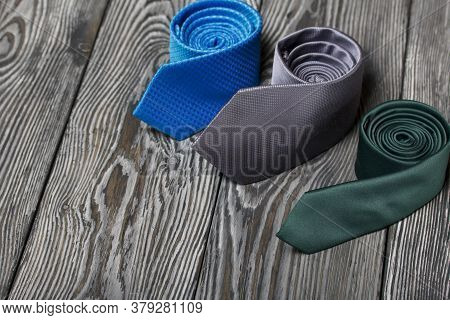 Men's Ties In Different Colors And Sizes. For Father And Son. Love And Togetherness Objects.