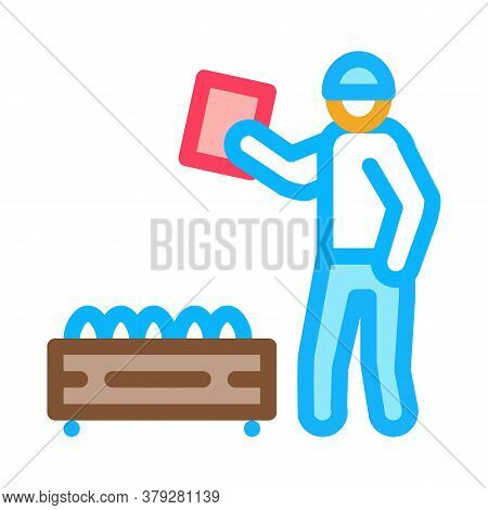 Mushroom Farm Worker Icon Vector. Mushroom Farm Worker Sign. Color Symbol Illustration