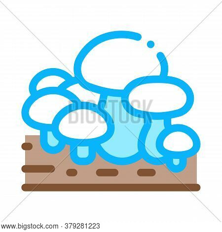 Growing Mushroom Icon Vector. Growing Mushroom Sign. Color Symbol Illustration