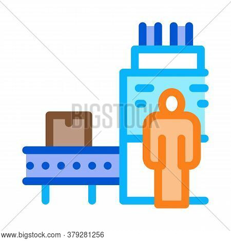 Manufacturing Machine Operator Icon Vector. Manufacturing Machine Operator Sign. Color Symbol Illust
