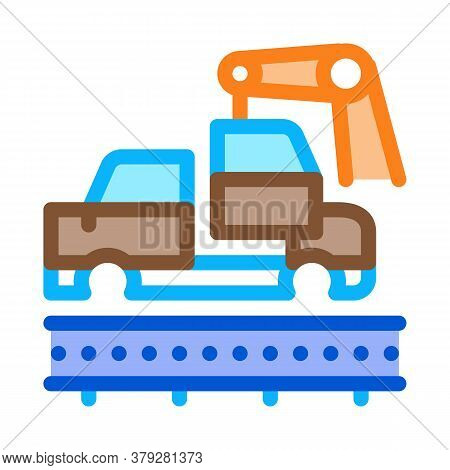 Car Manufacturing Icon Vector. Car Manufacturing Sign. Color Symbol Illustration