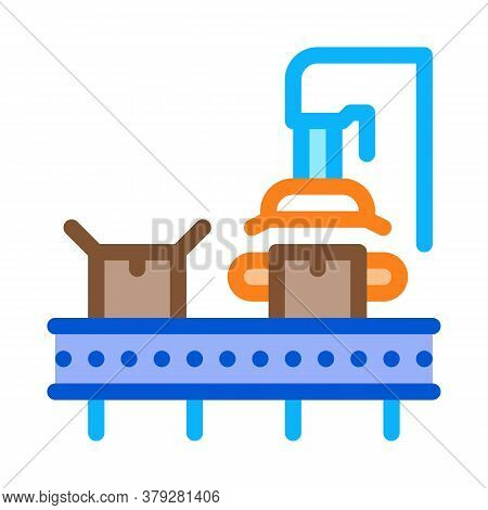 Machine For Close Box Icon Vector. Machine For Close Box Sign. Color Symbol Illustration