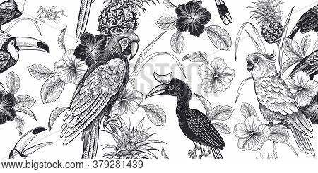 Tropical Floral Seamless Pattern. Black And White Background For Textile, Paper, Wallpaper. Tropical