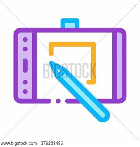 Web Site Design On Tablet Icon Vector. Web Site Design On Tablet Sign. Color Symbol Illustration