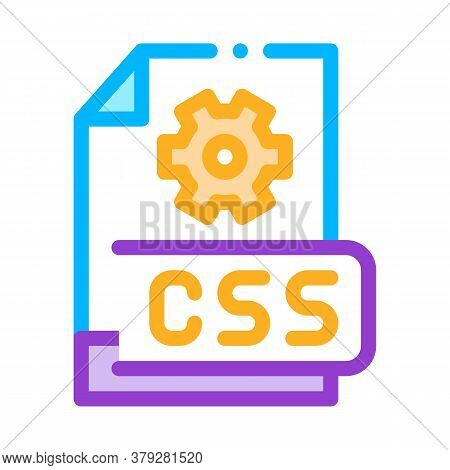 Front End Css Code Icon Vector. Front End Css Code Sign. Color Symbol Illustration