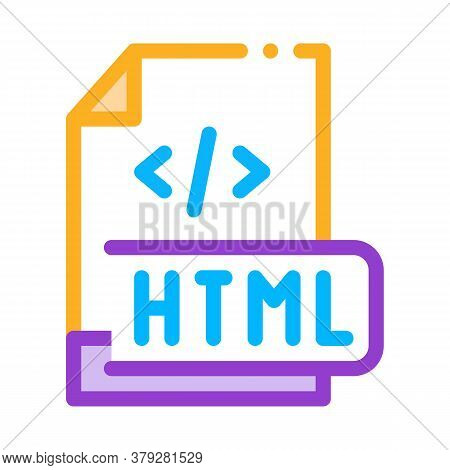 Front End Html Code Icon Vector. Front End Html Code Sign. Color Symbol Illustration