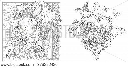 Coloring Pages. Bunny Girl In Spring Flower Garden With Lace Umbrella. Froral Basket. Line Art Desig