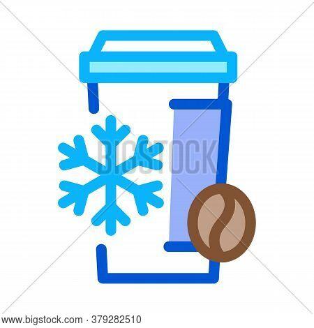 Cold Coffee Cup Icon Vector. Cold Coffee Cup Sign. Color Symbol Illustration