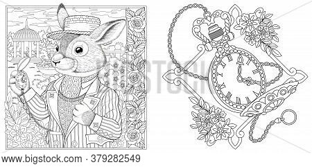 Coloring Pages. Rabbit Man With Vintage Clock On Chain. Line Art Design For Adult Colouring Book Wit