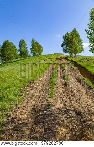 Mountain Summer Landscape. Road Uphill. Trail Among The Trees Against The Background Of Blue  Sky. V