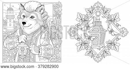 Coloring Pages. Wolf Seaman With Lantern And Lighthouse On The Background. Line Art Design For Adult