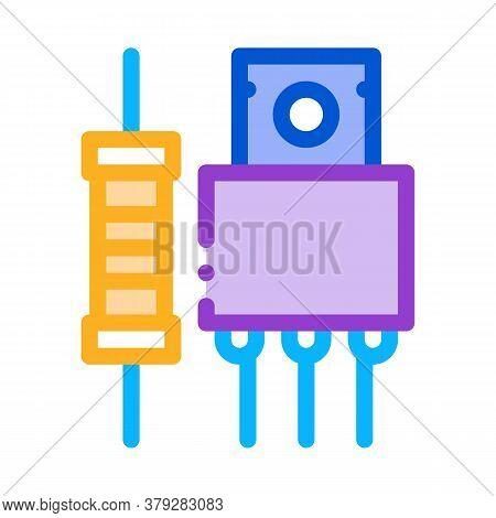 Radio Spare Parts Icon Vector. Radio Spare Parts Sign. Color Symbol Illustration