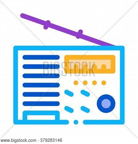 Radio Device Icon Vector. Radio Device Sign. Color Symbol Illustration