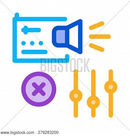 Radio Sound Settings Icon Vector. Radio Sound Settings Sign. Color Symbol Illustration