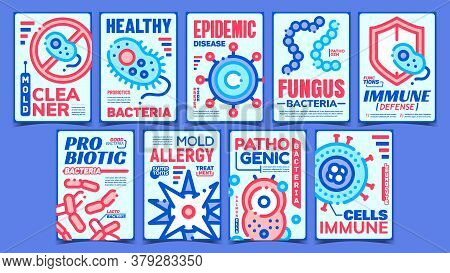 Pathogen Creative Advertising Posters Set Vector. Probiotic And Pathogen Bacteria, Mold Allergy And