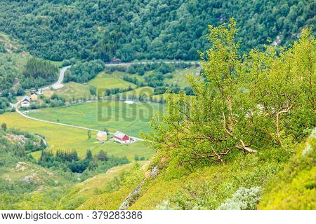 Tourism Vacation And Travel. Mountains Landscape At Summer With Beautiful Grren Valley, Norway, Scan